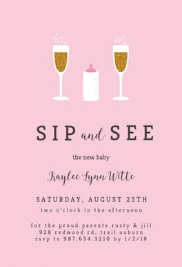 Golden Champagne - Baby Shower Invitation