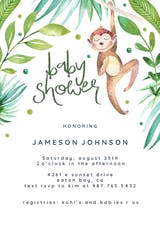 Hanging monkey - Baby Shower Invitation