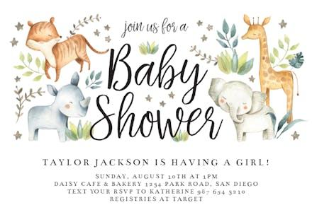 Hy Zoo Animals Baby Shower Invitation