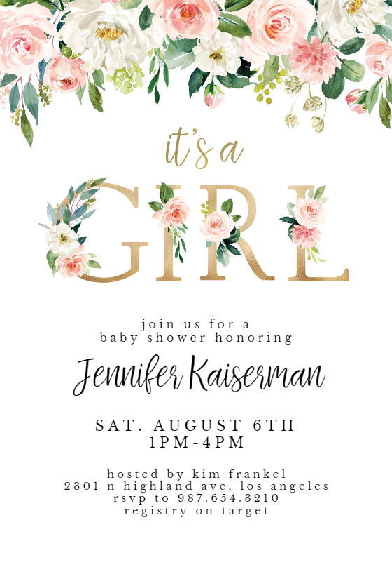 It S A Girl Floral Letters Baby Shower Invitation
