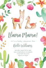 Llama Flowers - Baby Shower Invitation