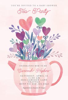 Lovely tea pot - Baby Shower Invitation