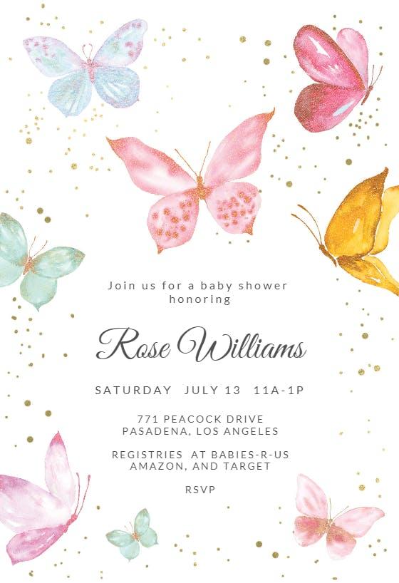 Butterfly Baby Shower Printable Invitation Digital Proof in 24 Hours! Custom Butterflies Glitter Baby Shower Invitation