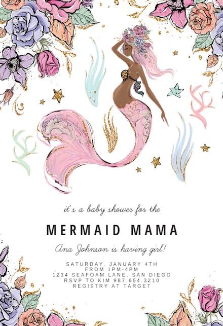 Mommy Mermaid Invitación Para Baby Shower Gratis