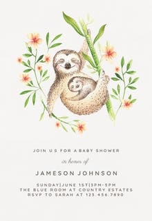 Mother and baby sloths - Baby Shower Invitation
