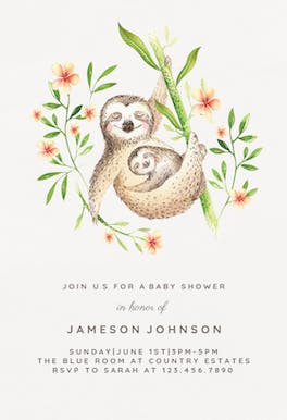 Mother and baby sloths - invitation