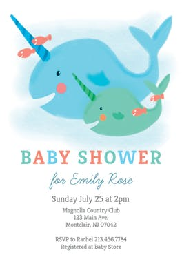 Narwhal - Baby Shower Invitation