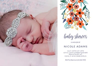 Orange Floral - Baby Shower Invitation