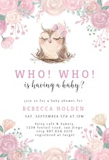 Owl Flowers - Baby Shower Invitation