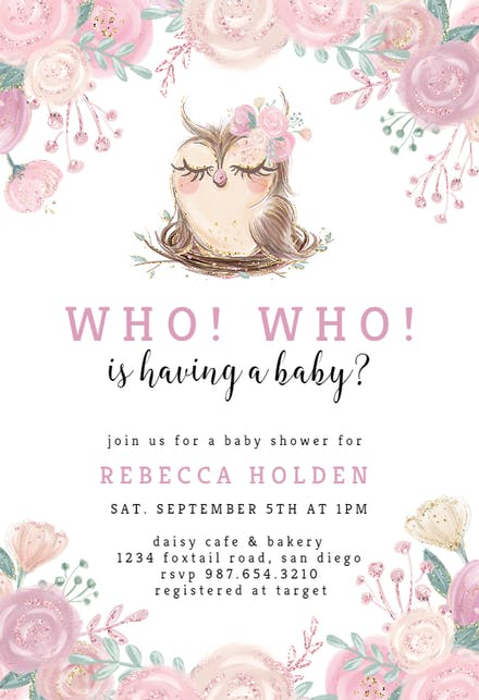 Owl Flowers Baby Shower Invitation Template Free