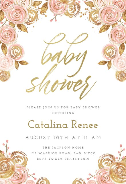 Pink And Gold Floral Baby Shower Invitation Template Free