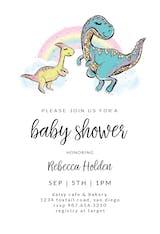 Rainbow Dinosaur - Baby Shower Invitation