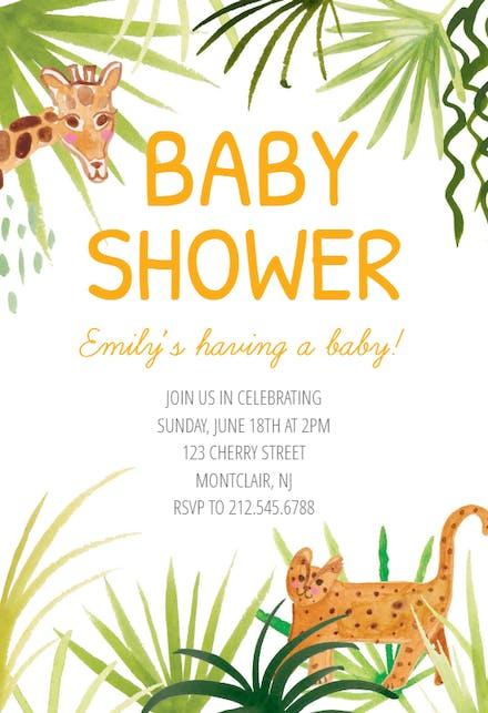 Safari Invitación Para Baby Shower Gratis Greetings Island
