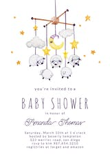 Sheep Mobile - Baby Shower Invitation