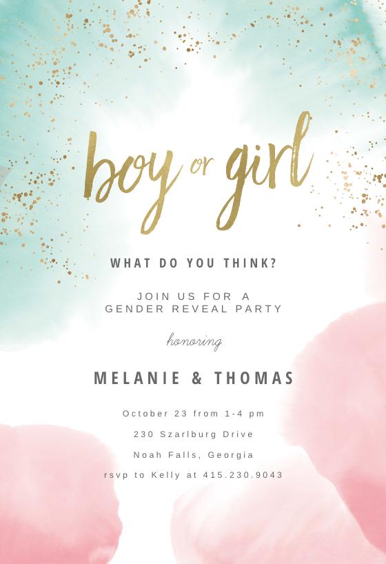 graphic regarding Free Printable Gender Reveal Party Invitations identify Gender Explain Invitation Templates (Cost-free) Greetings Island