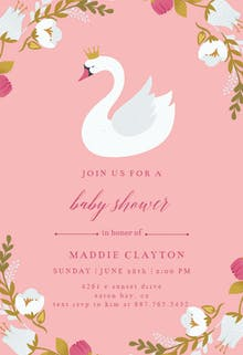 Baby shower invitations for girls free templates greetings island swan baby shower invitation filmwisefo