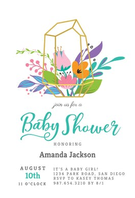 Terrarium - Baby Shower Invitation