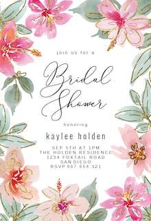 Tropical Glitter Flowers - Bridal Shower Invitation