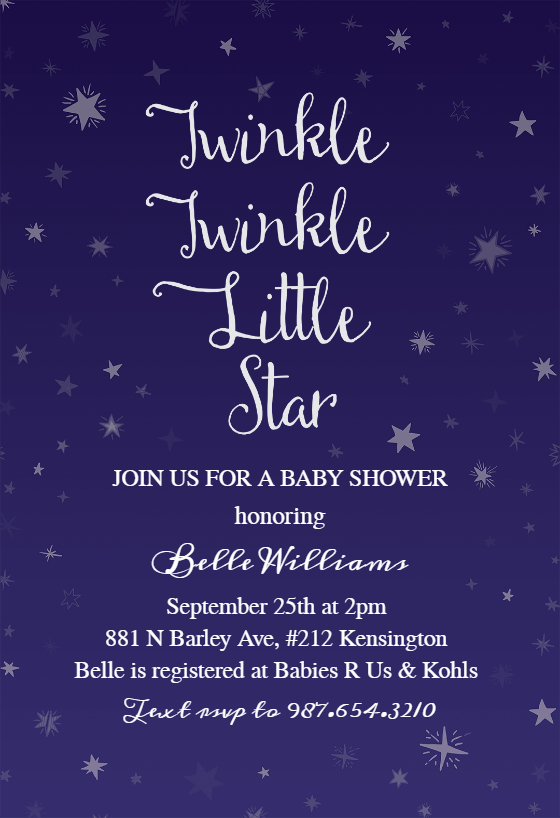 image regarding Free Printable Twinkle Twinkle Little Star Baby Shower Invitations named Twinkle Minor Star - Child Shower Invitation Template (Free of charge