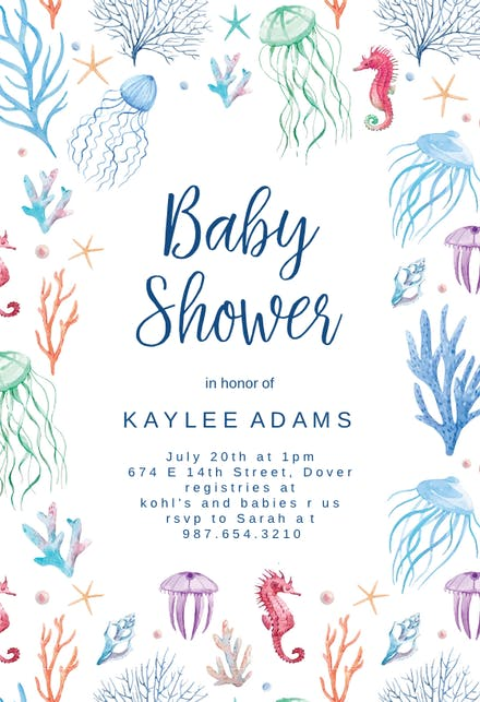 Under The Sea Baby Shower Invitation Template Free Greetings