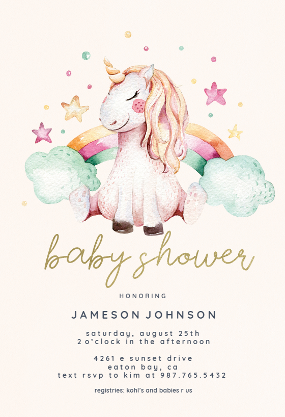 Unicorn And Rainbow Baby Shower Invitation Template