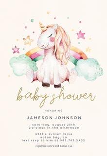 Unicorn and rainbow - Baby Shower Invitation