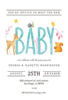 Watercolor Animals - Sip & See Invitation Template
