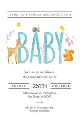 Watercolor Animals - Invitación Para Baby Shower