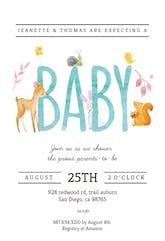 Watercolor Animals - Baby Shower Invitation