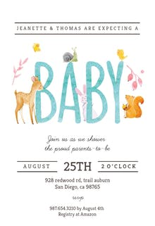 Watercolor Animals - Invitación De Baby Shower