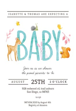 Watercolor Animals - Baby Shower Invitation
