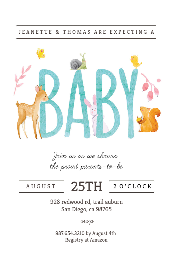 Watercolor Animals   Baby Shower Invitation Template  Baby Shower Template