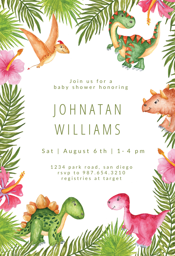 image relating to Free Printable Dinosaur Baby Shower Invitations called Watercolor Dinosaurs - Youngster Shower Invitation Template (Free of charge