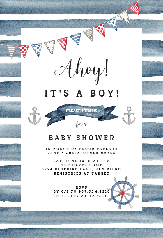 watercolor nautical  baby shower invitation template