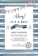Watercolor Nautical - Baby Shower Invitation
