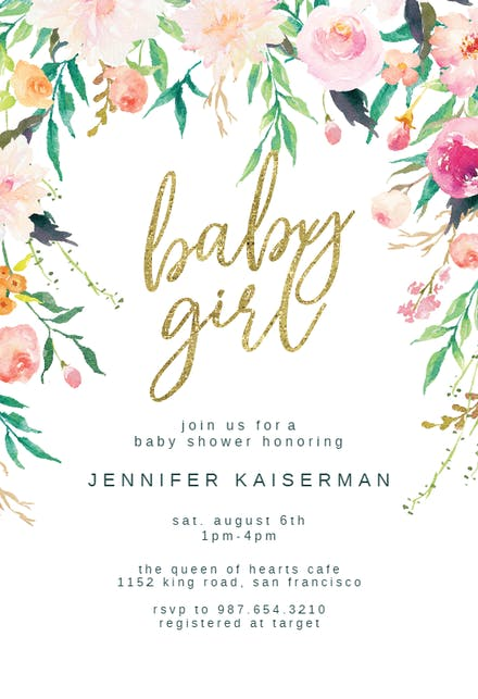 Pink And Gold Baby Shower Invitation Templates Free Greetings Island