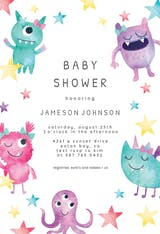 Whimsical monsters - Baby Shower Invitation