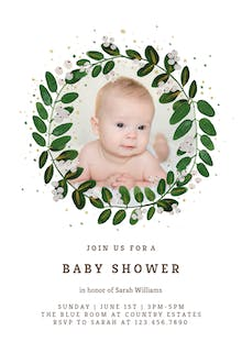 White Bloom - Baby Shower Invitation