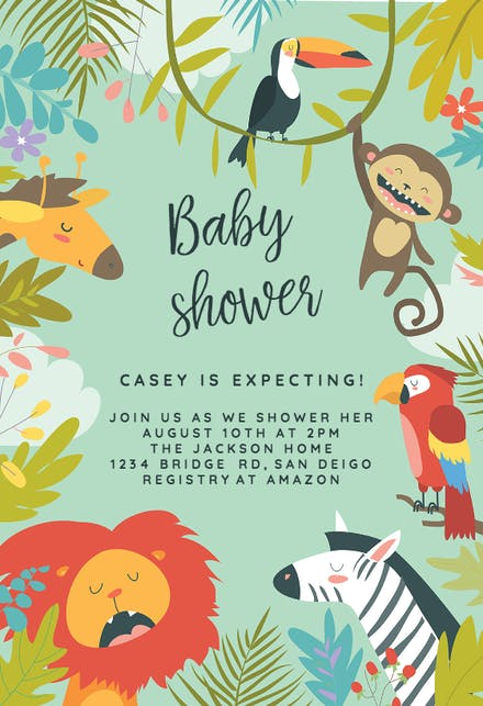 Wild Animals Baby Shower Invitation Template Free
