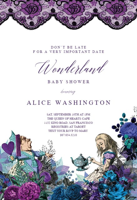 Wonderland Tea Party Baby Shower Invitation Template Free