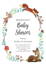 Woodland Animal Wreath - Baby Shower Invitation