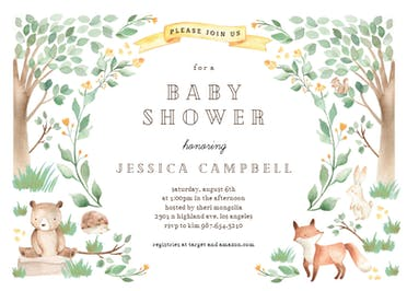 Woodland Creatures - Baby Shower Invitation