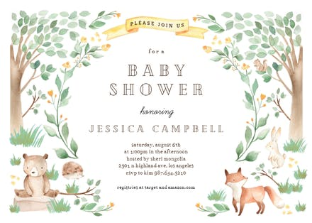 Woodland Creatures Baby Shower Invitation Template Free