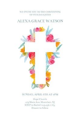 Cross Flowers Free Baptism Amp Christening Invitation