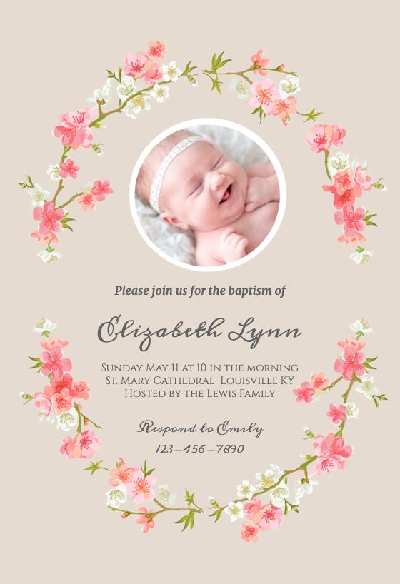 Floral Baby Baptism amp Christening Invitation Template