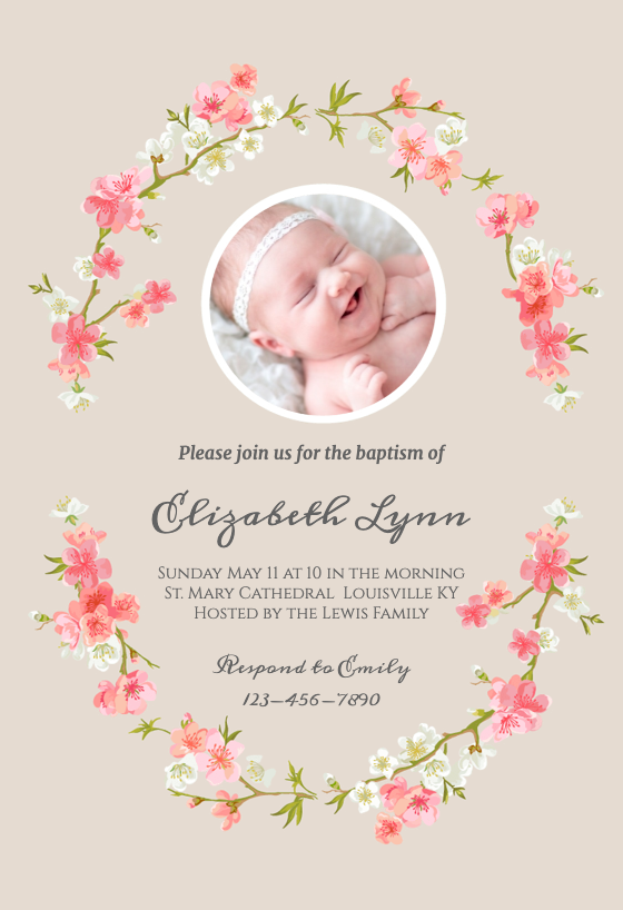 photo regarding Free Printable Baptism Invitation Template named Baptism Christening Invitation Templates (No cost
