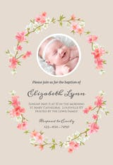 Floral Baby - Baptism & Christening Invitation