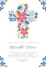 Floral Cross - Baptism & Christening Invitation