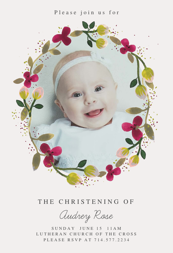 Floral Happiness Baptism Amp Christening Invitation