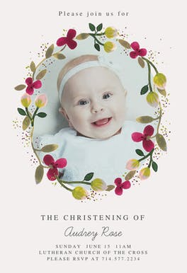 Floral Happiness - Baptism & Christening Invitation